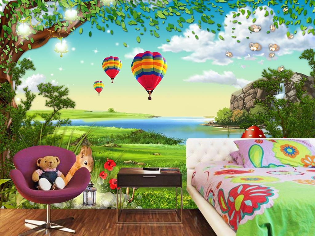 儿童房壁纸                                  手绘森林