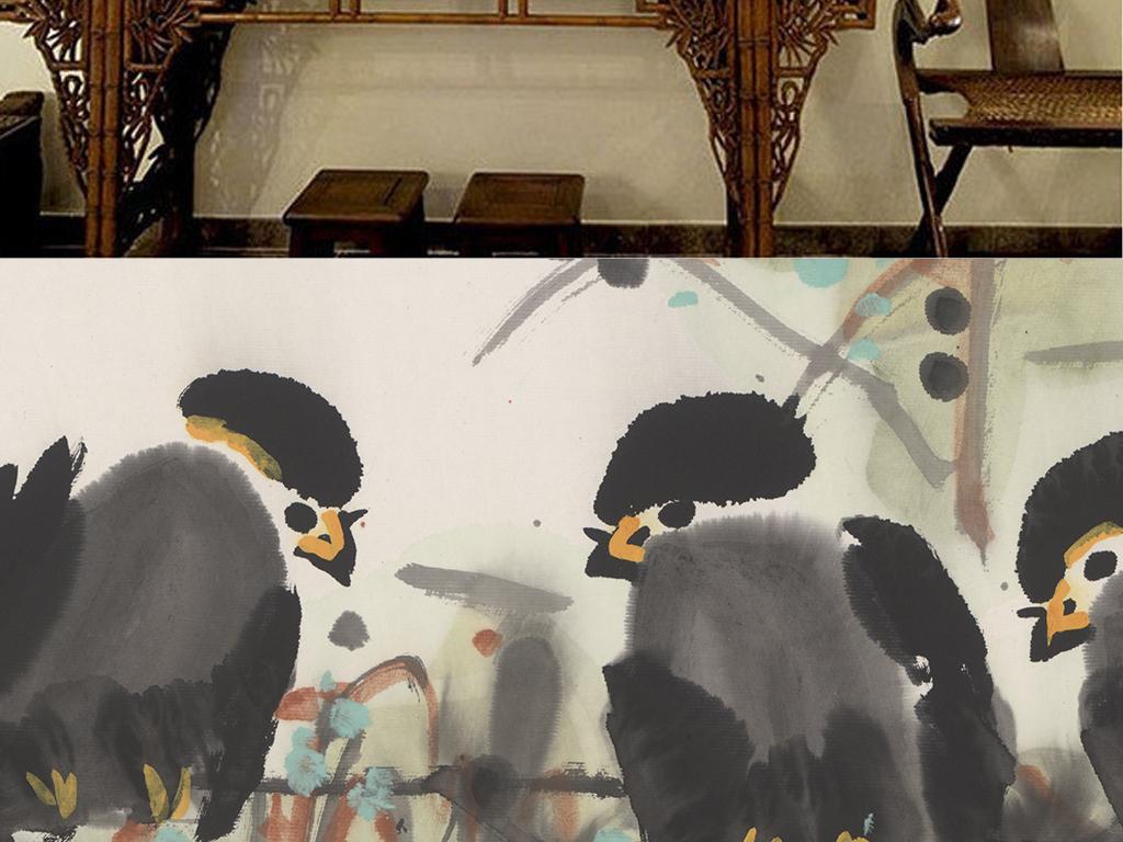 重彩水墨国画树枝上的小鸟挂画装饰画