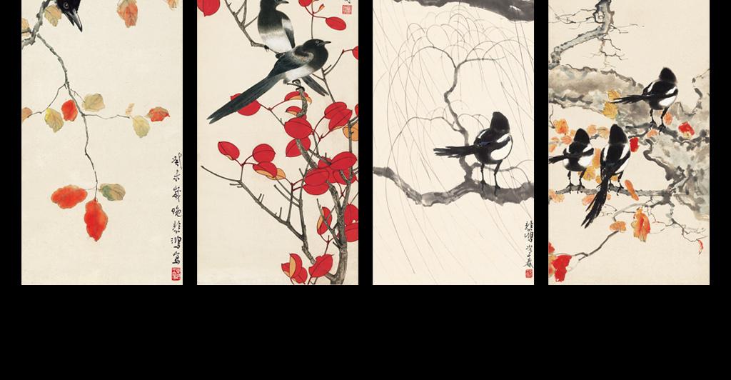 山水古风禅房喜鹊书房高清复古条屏水墨黑白淡雅喜上眉梢红叶进口画芯