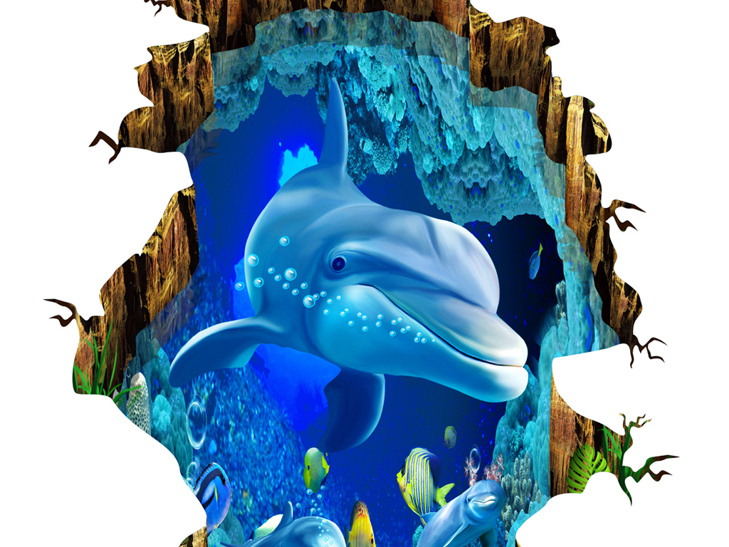 3d海豚裂缝海底世界立体地板地砖