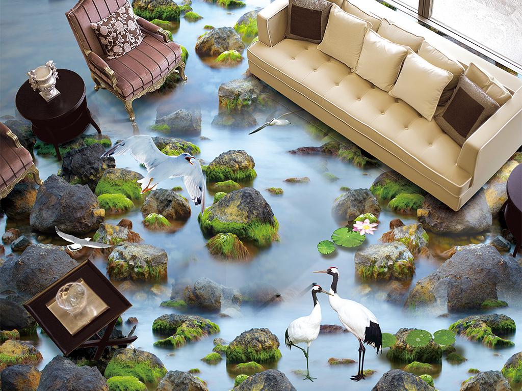 小河流水石头白露仙鹤荷花鲤鱼3d立体地板