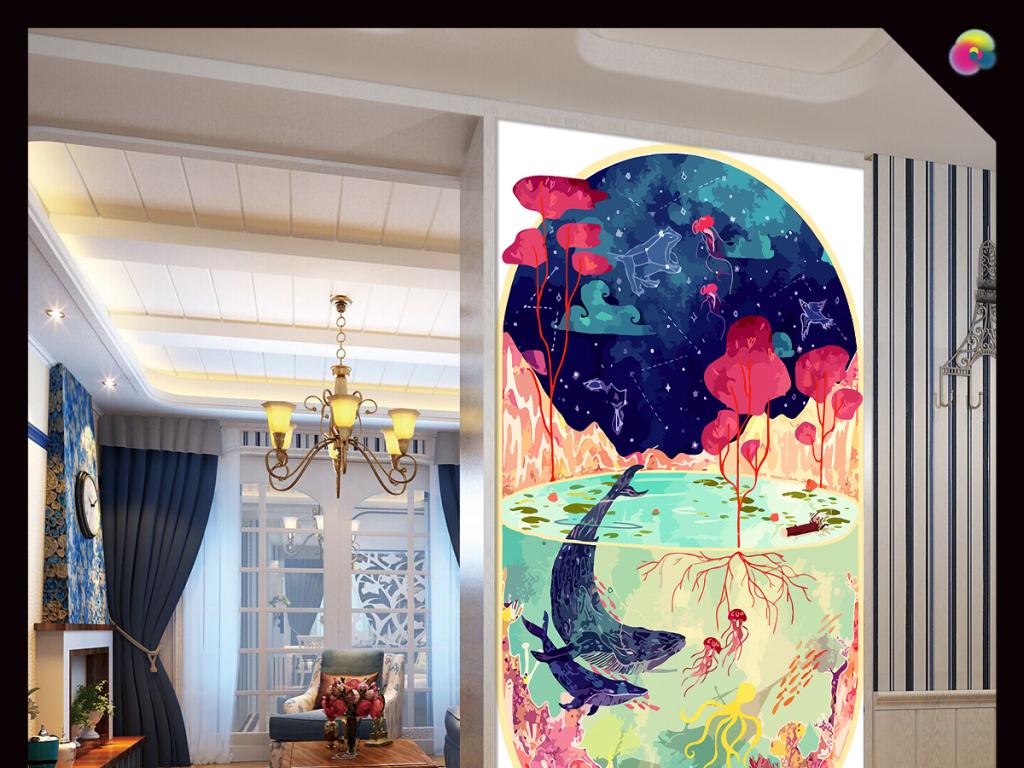 唯美手绘水彩大海鲸鱼玄关背景装饰画