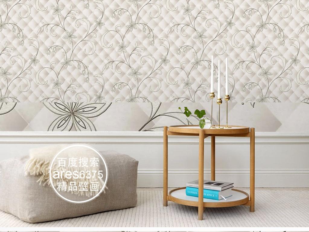 欧式现代新中式立体刺绣花纹软包壁画墙纸