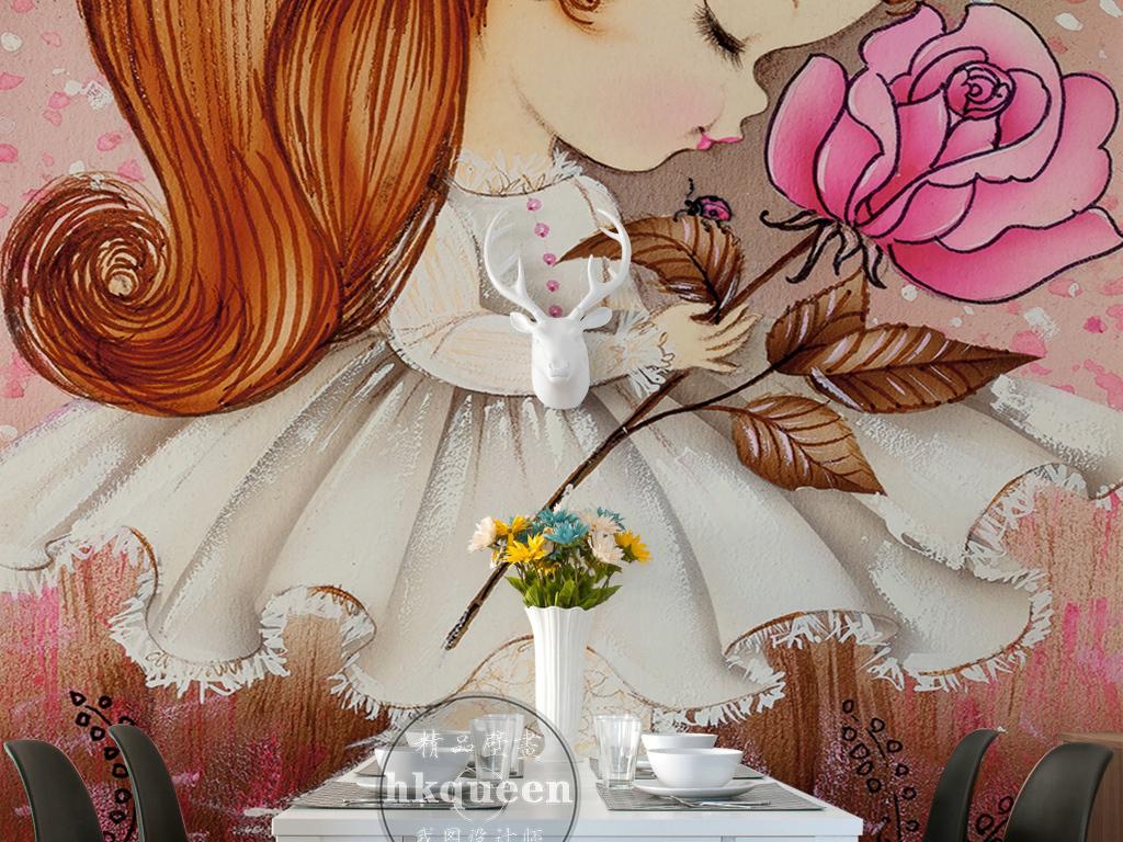 手绘卡通动漫小女孩玫瑰小碎花油画玄关过道