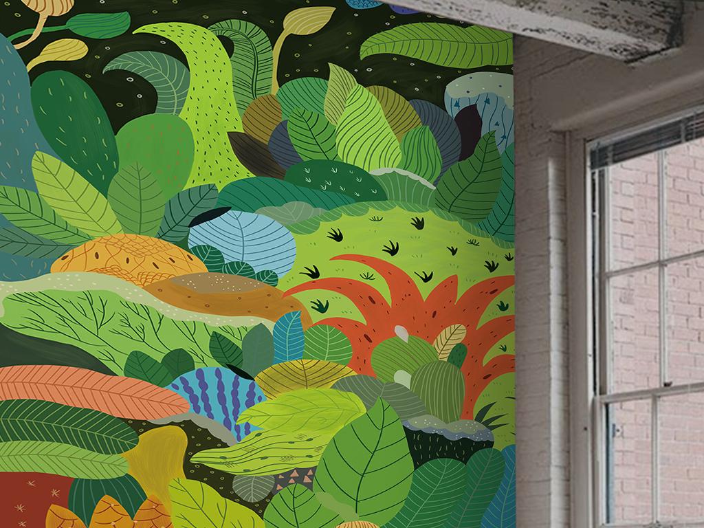 手绘抽象树林绿色植物风景玄关过道