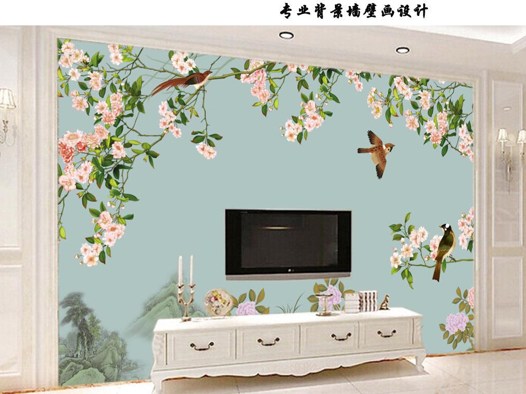 手绘花鸟国画高清背景墙壁画
