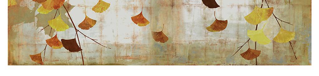 银杏叶油画背景墙