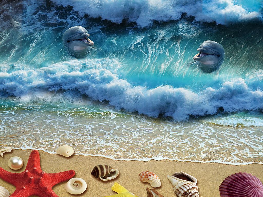 海浪波浪海星贝壳海螺沙滩海滩海豚湾大海