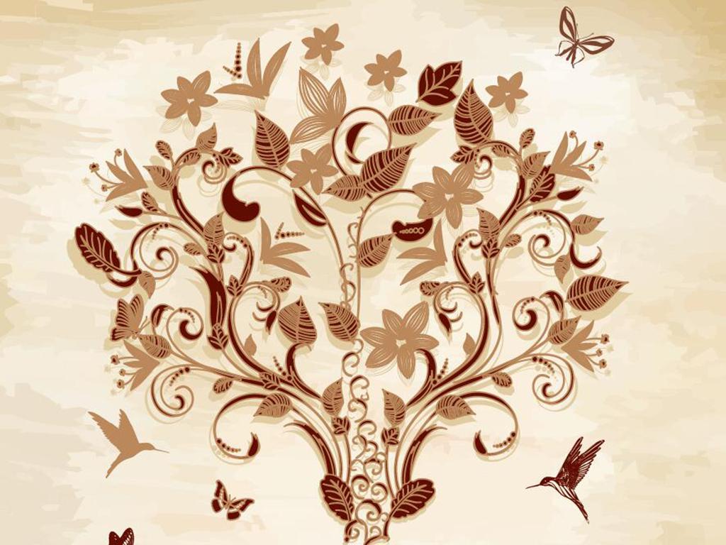 超清手绘发财树系列玄关背景墙