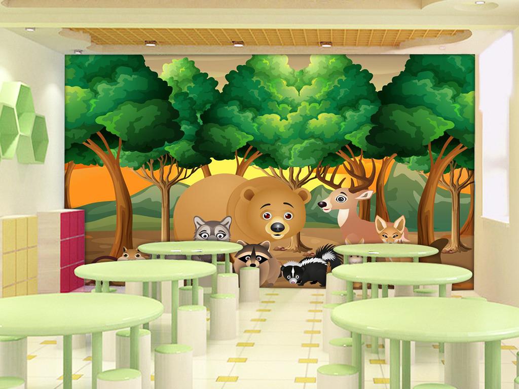 背景墙|装饰画 电视背景墙 手绘电视背景墙 > 超清卡通森林动物系列