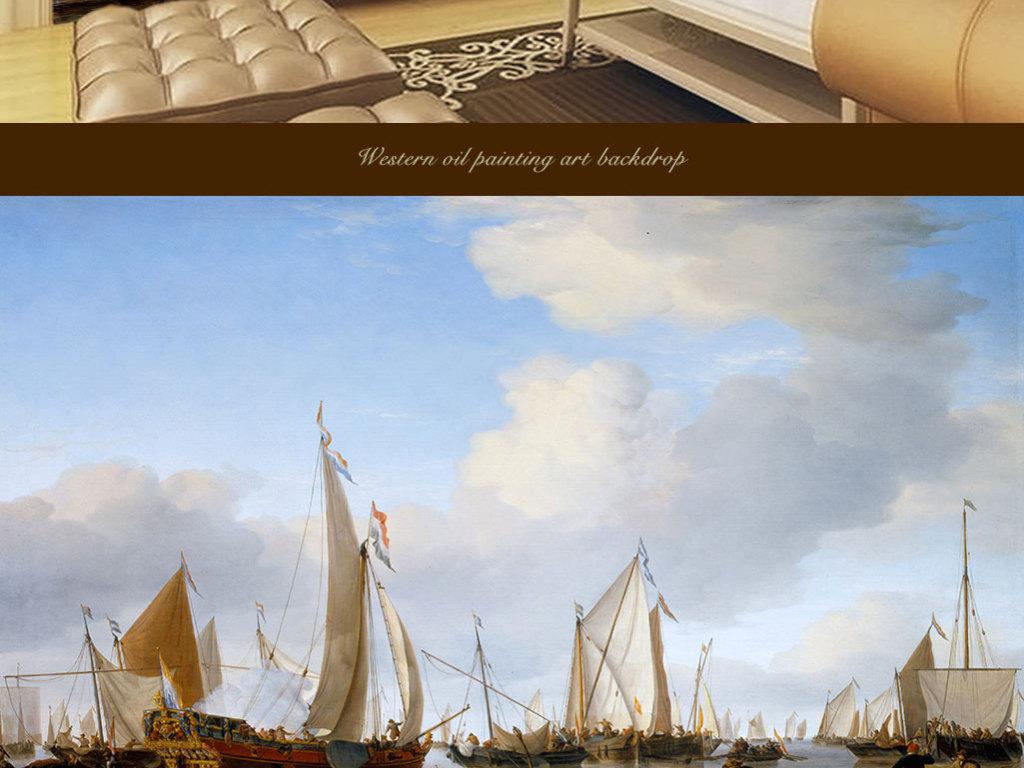 西方油画平静海面的帆船靠近岸边的一艘游艇