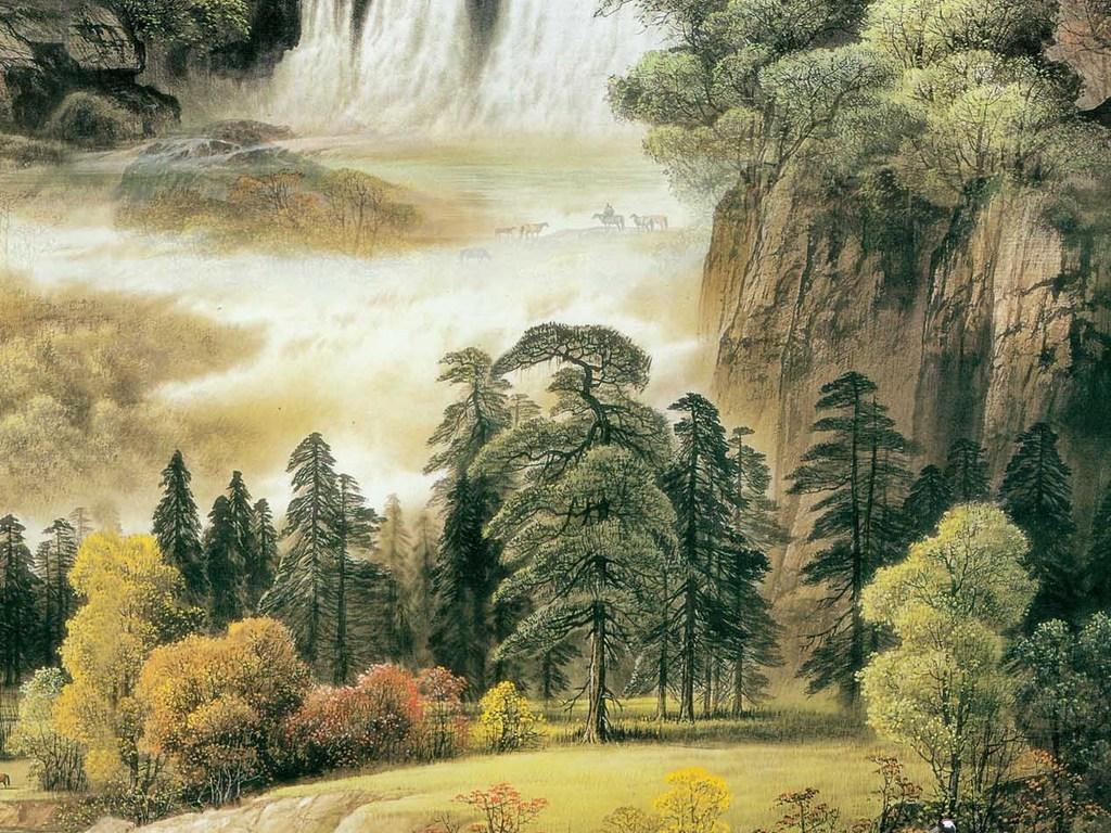 山水画瀑布玄关装饰画背景墙图片
