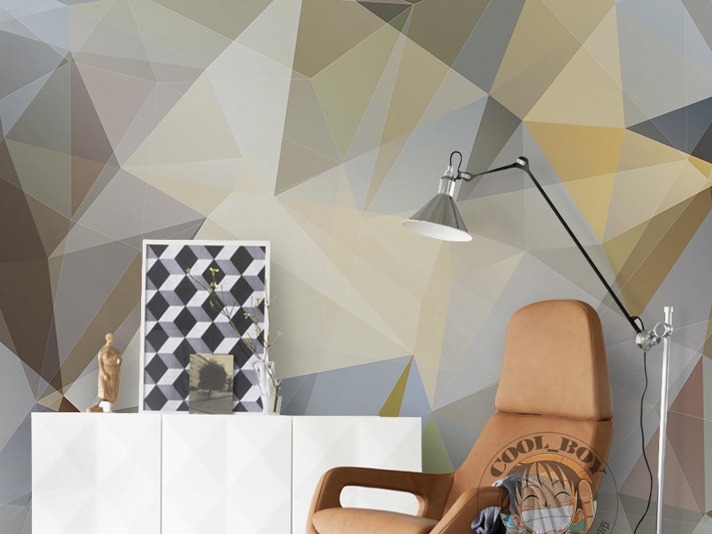 现代简约手绘几何三角形光影简单线条墙纸
