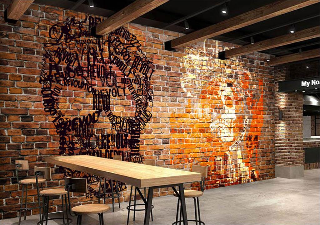 欧美复古涂鸦酒吧ktv背景墙