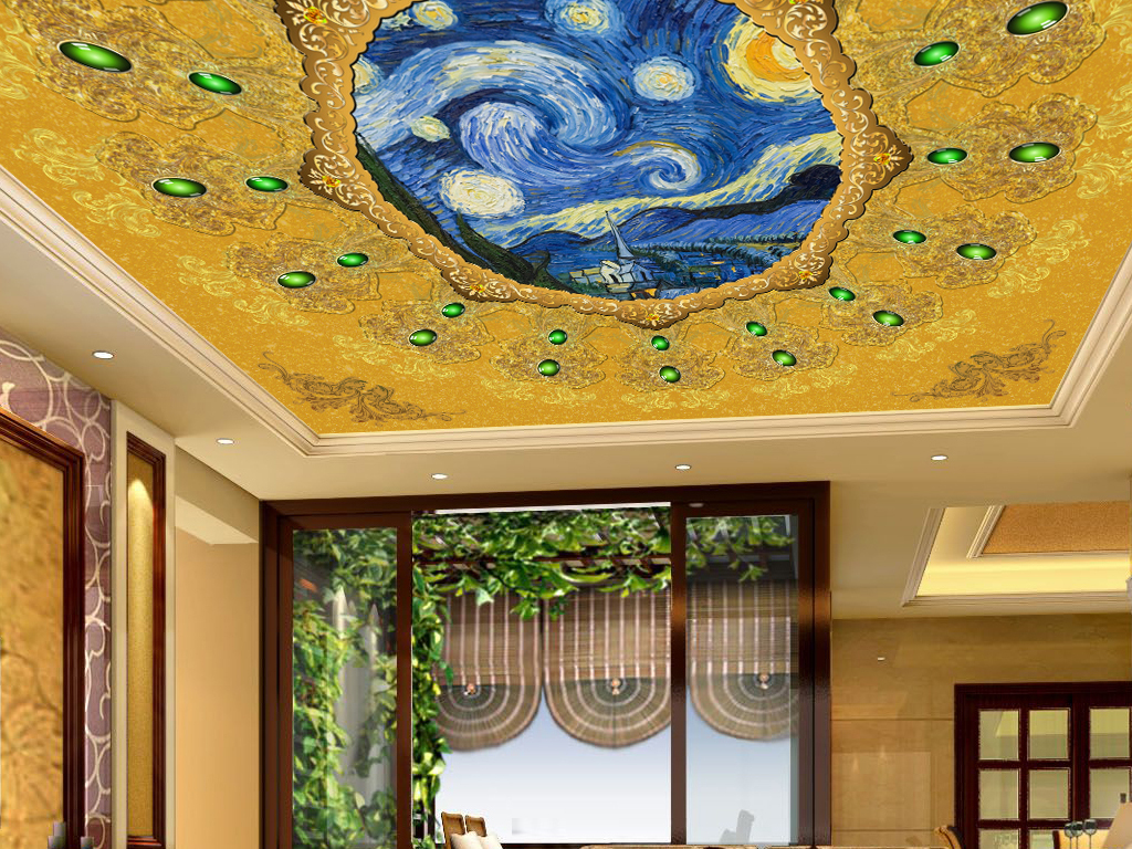 装饰画 吊顶|天顶壁画 欧式吊顶 > 精美欧式花纹梵高经典油画大厅客厅