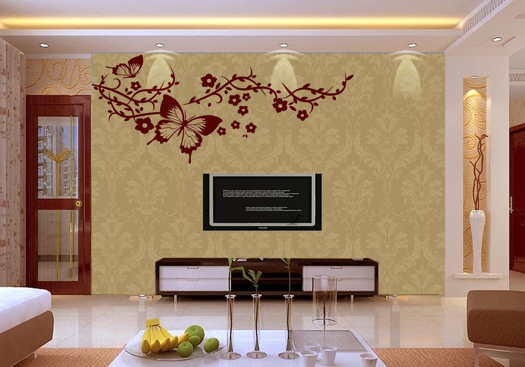 电视背景墙硅藻泥花纹客厅沙发背景墙卧室玄关