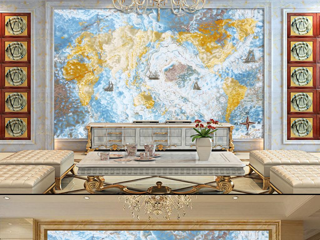大理石航海世界地图电视背景墙