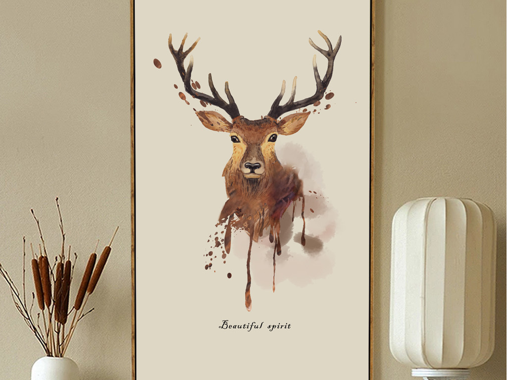 麋鹿北欧简约北欧风格北欧美式抽象麋鹿动物
