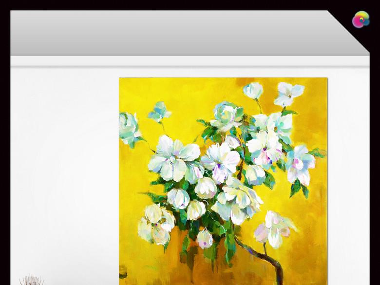 欧式古典静物插花花卉油画玄关背景墙设计