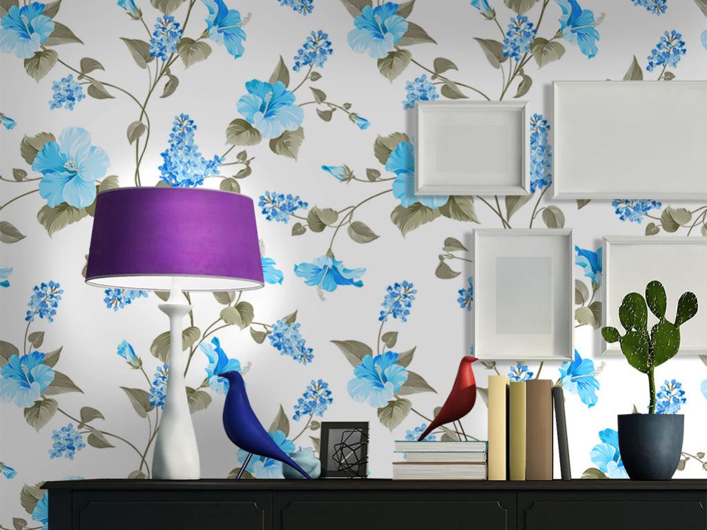 小清新蓝色藤蔓叶子盛开花卉艺术壁纸