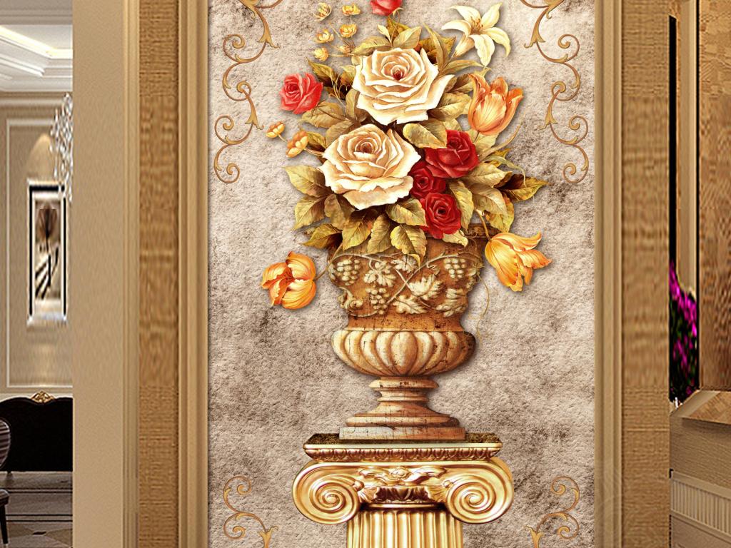 欧式艺术盆花玄关背景墙