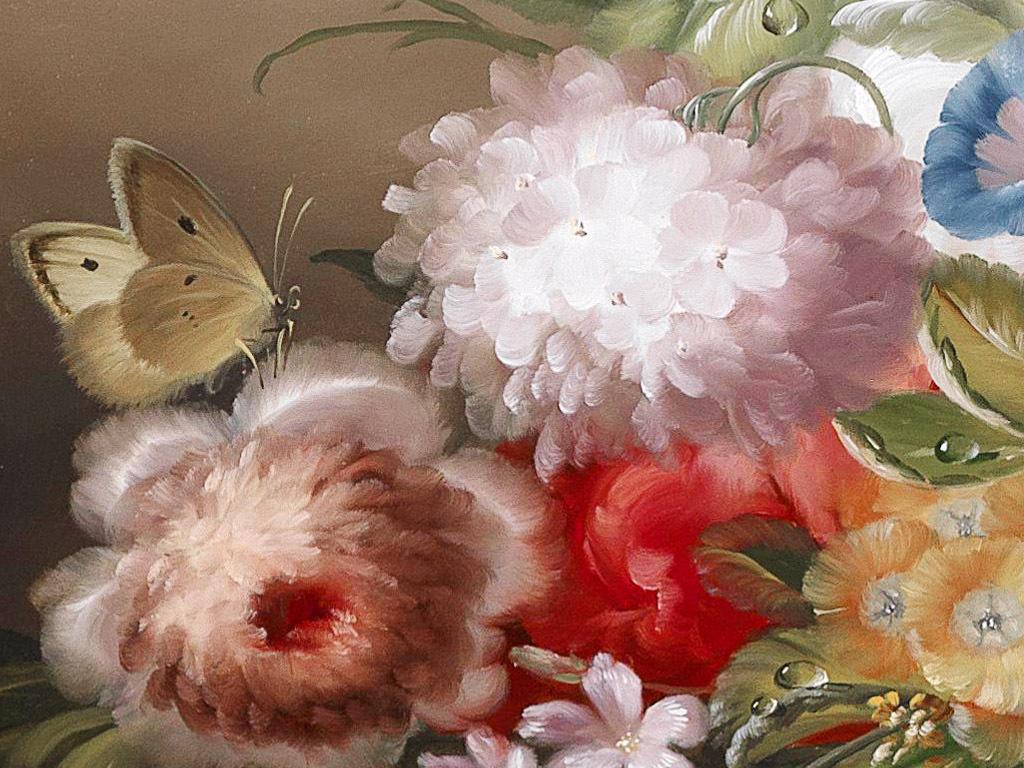 精美传统静物鲜花花卉蝴蝶昆虫油画