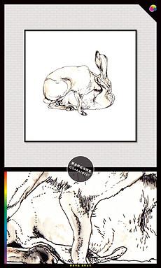 高清手绘水彩兔子装饰插画无框画-小白兔素描图片素材 小白兔素描图图片