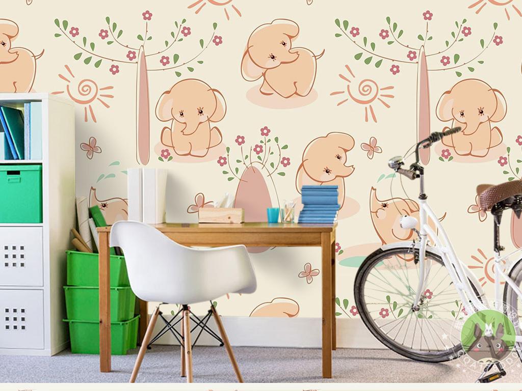 壁画壁纸装饰画幼儿园小孩房可爱背景墙北欧风格小清新现代简约宝宝