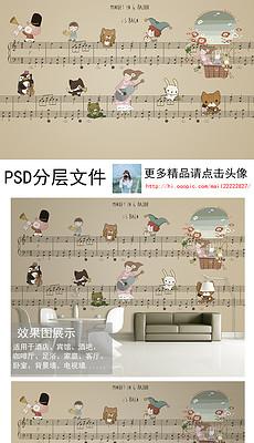 黑管动画片谱子-手绘卡通乐谱背景墙装饰画-小提琴背景图片