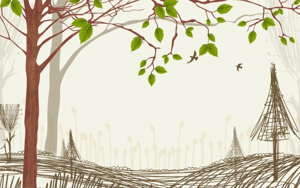 手绘简约树林树叶小鸟