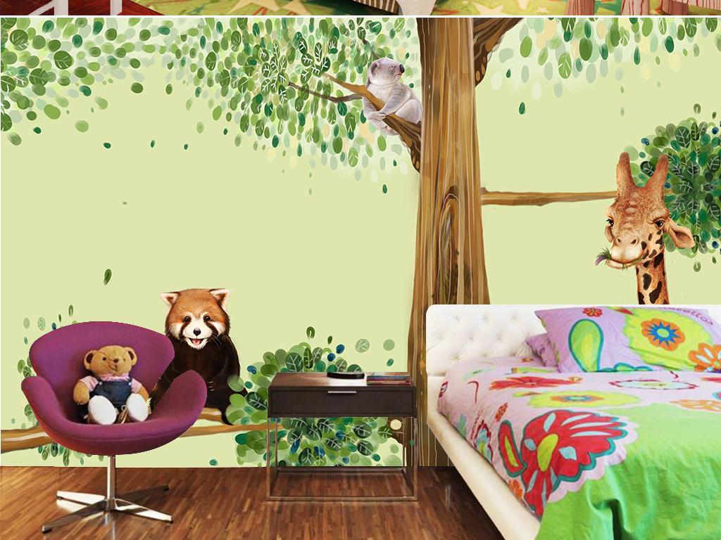 卡通树枝上的动物儿童背景墙