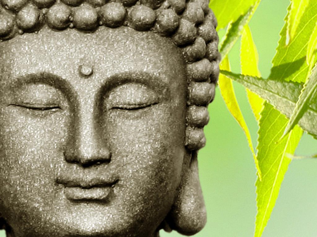 高清禅境佛像鲜花竹石背景墙装饰画壁画