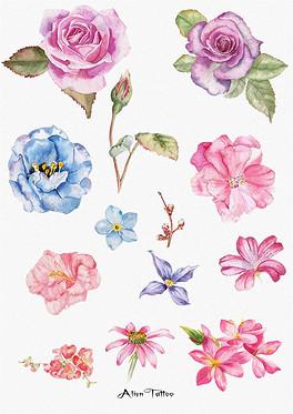 水彩手绘花卉图案-PSD简笔画素描 PSD格式简笔画素描素材图片 PSD