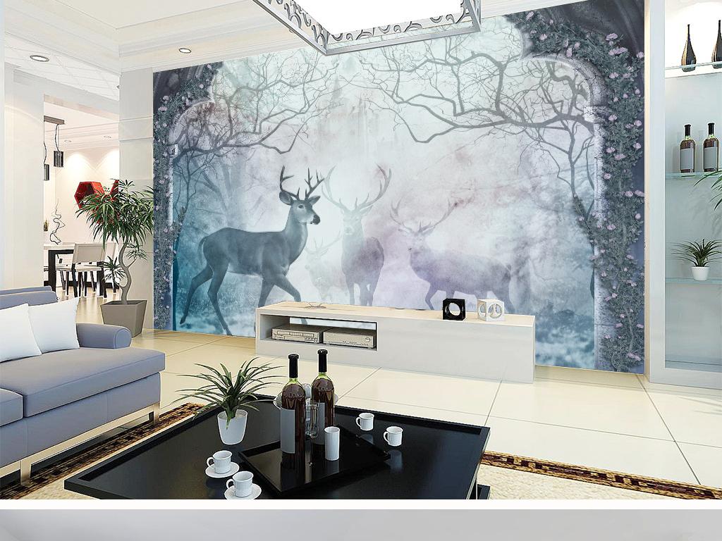 冬季麋鹿森林风景北欧背景墙图片