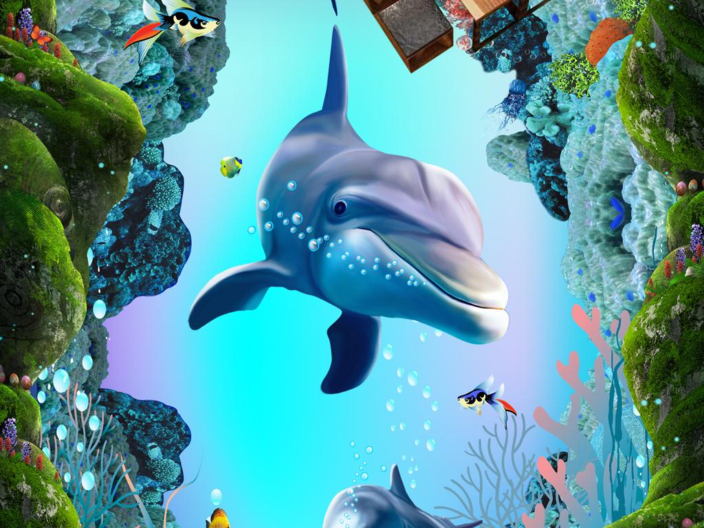 海底世界溶洞热带鱼3d地板地画