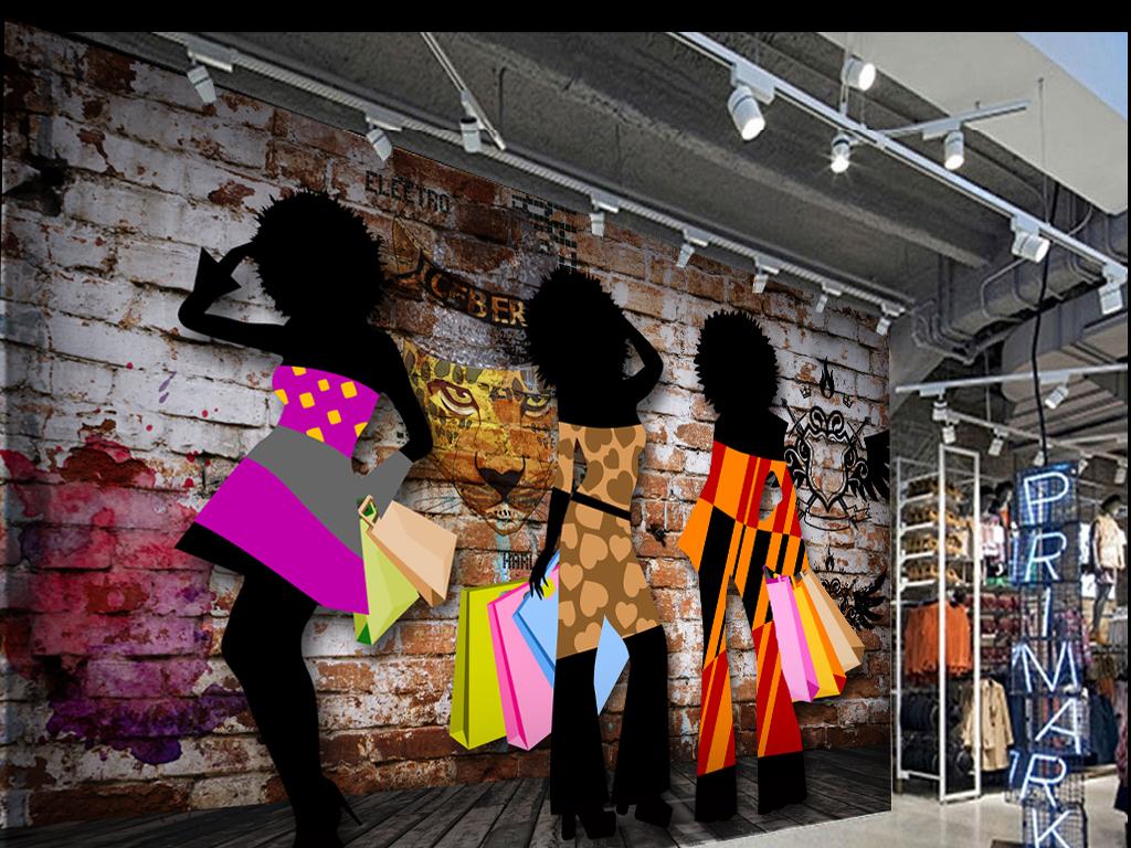 复古涂鸦服装时装时尚女郎服装时尚美女电视背景墙红裙子粉色裙子花