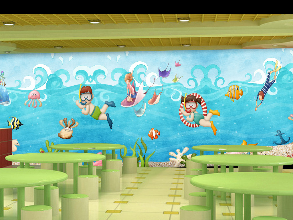 可爱手绘海底世界儿童房背景墙