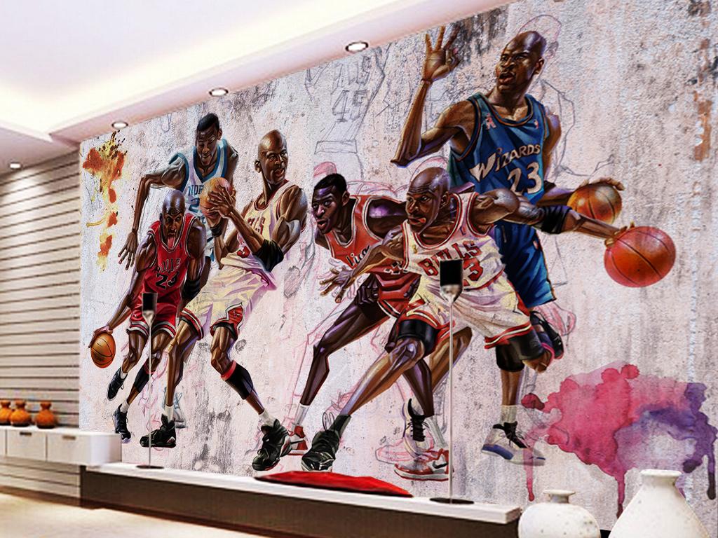 背景墙|装饰画 工装背景墙 其它 > 动漫篮球体育健身馆工装背景墙图片