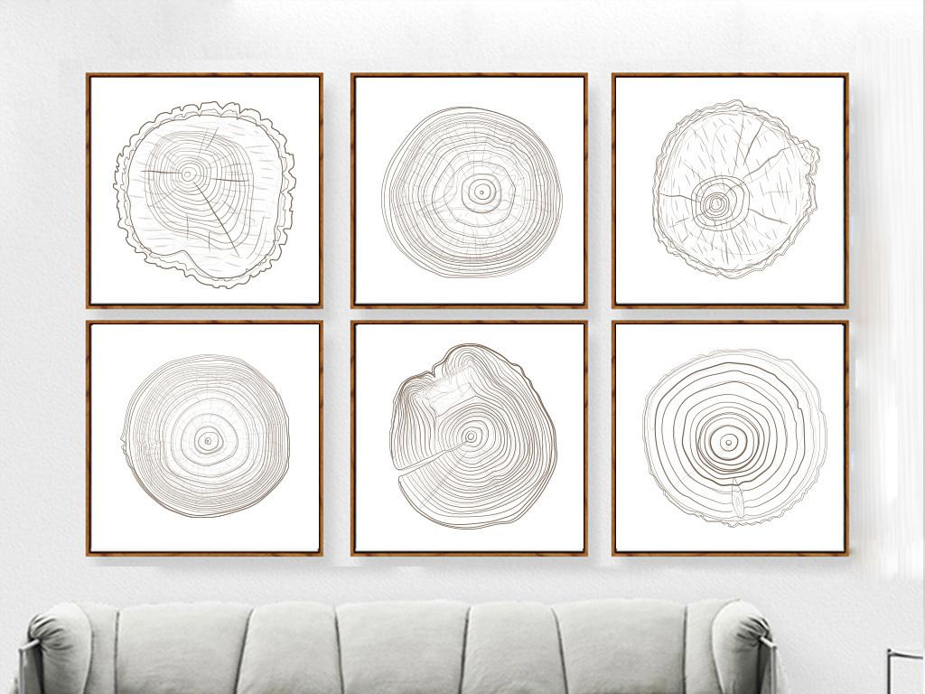 现代简约手绘木纹年轮装饰画
