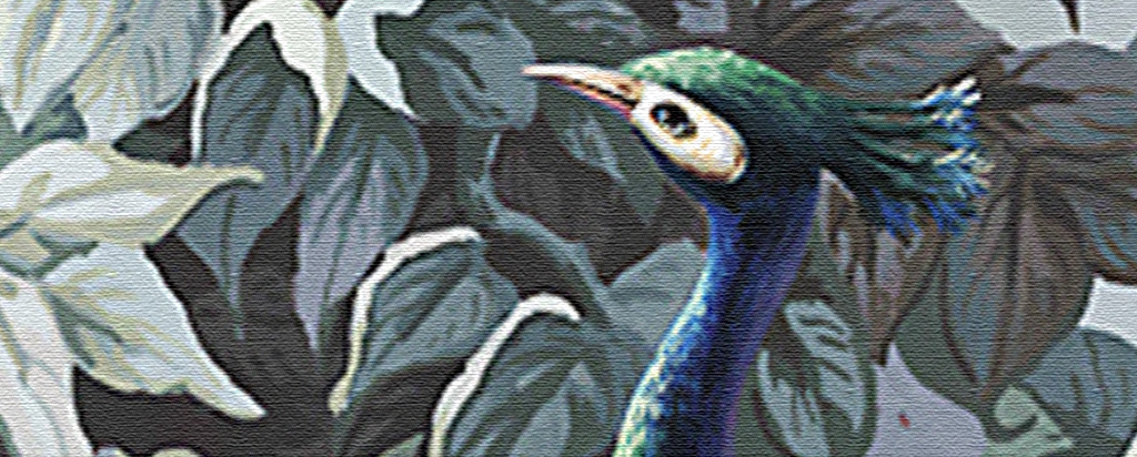 欧式复古手绘雨林孔雀花鸟田园壁画玄关背景