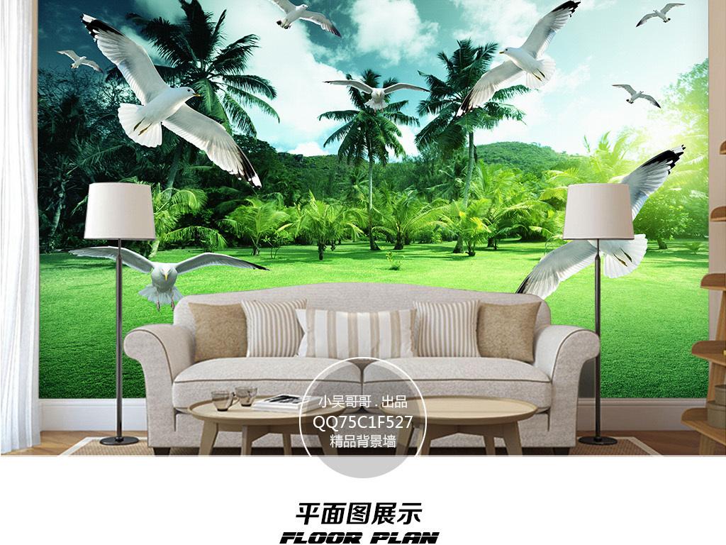 热带绿色森林风景壁画背景墙
