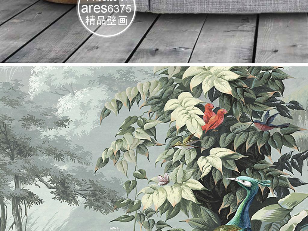 欧式复古手绘花鸟孔雀雨林田园壁画背景墙