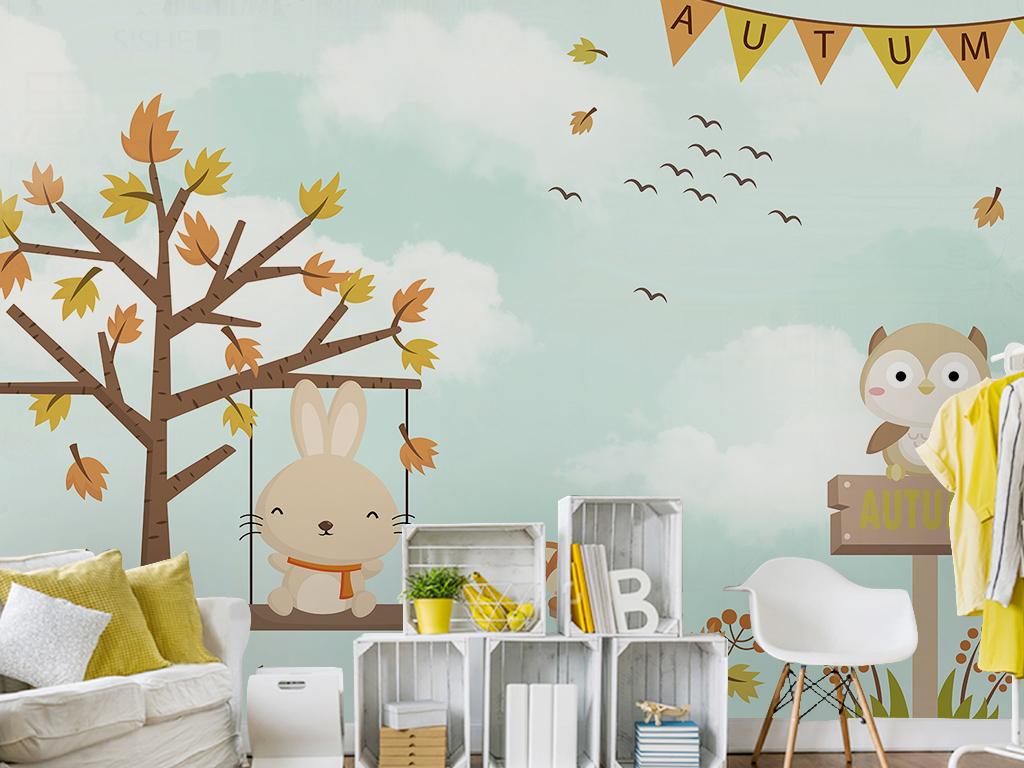 北欧简约手绘抽象大树飞鸟小动物卡通背景墙