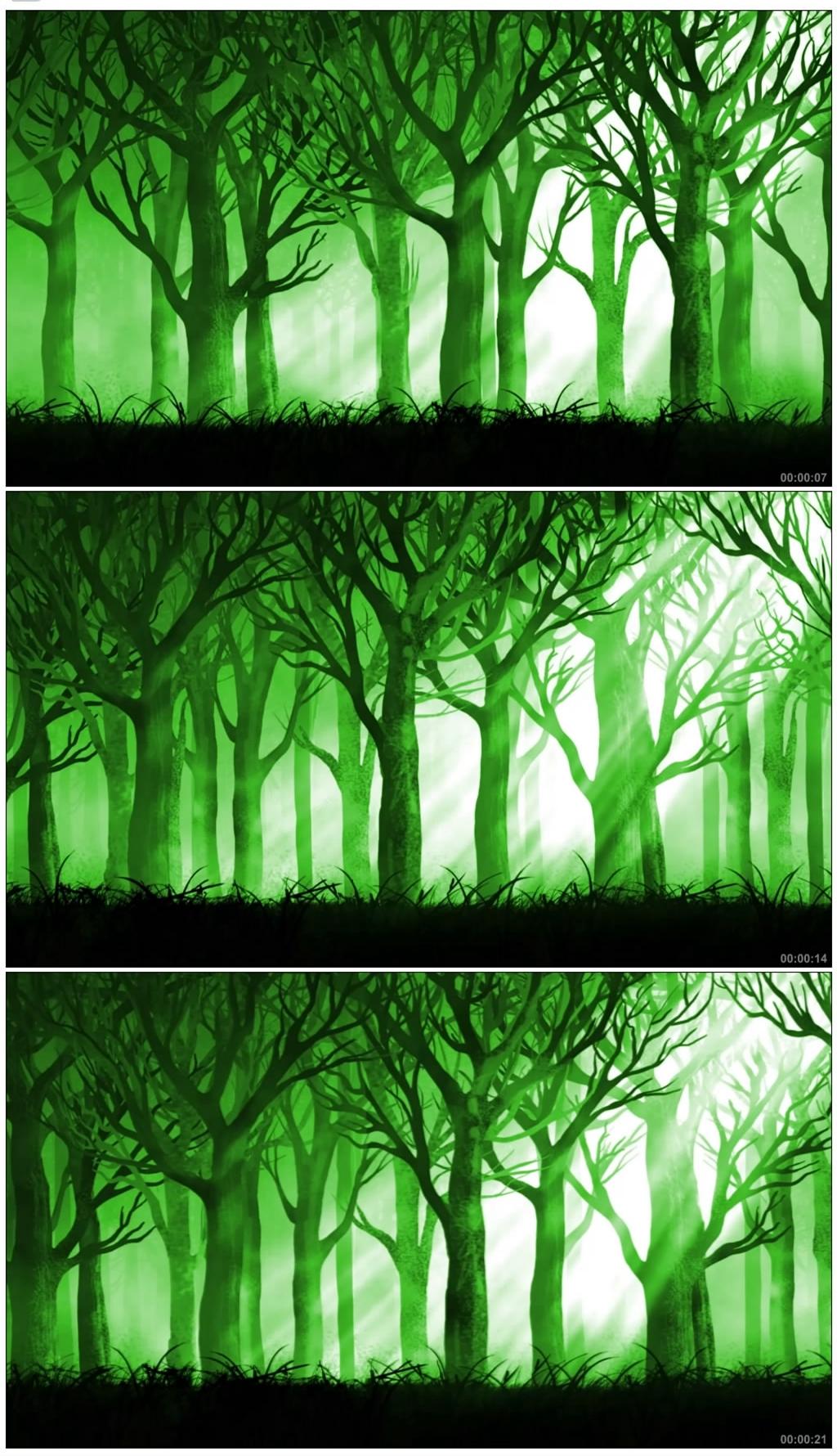 S952 动态绿色卡通童话森林背景视频素材