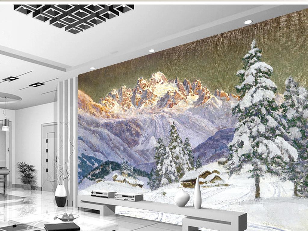 雪山雪树雪房冬季晴天立体雪地背景墙