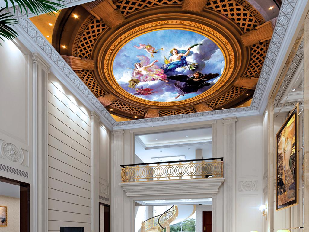 欧式天使油画飞天高档3d天顶吊顶壁画