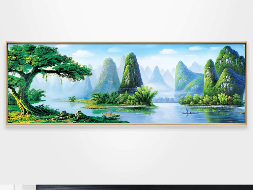 背景墙|装饰画 无框画 风景无框画 > 高清油画大树高山流水装饰画