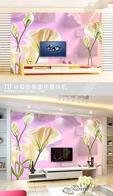 梦幻百合手绘花方块背景墙-温馨现代手绘花图片素材 温馨现代手绘花