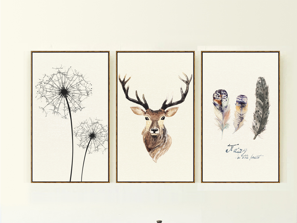 美克美家北欧风格自然手绘无框画麋鹿装饰画