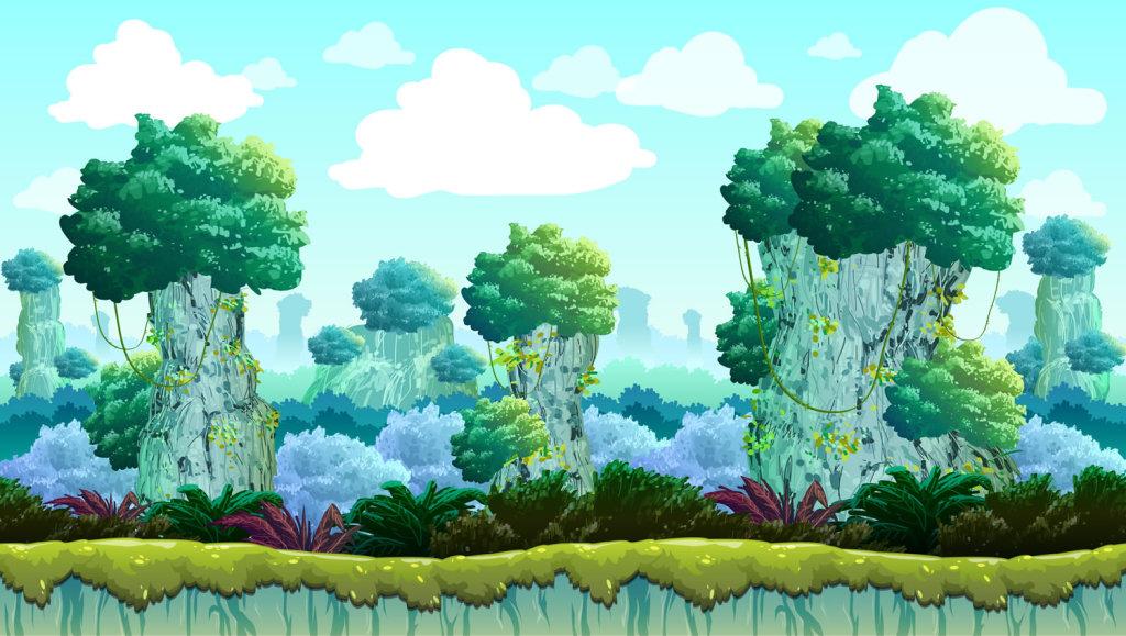 茂密的森林游戏背景矢量素材(图片编号:15581129)